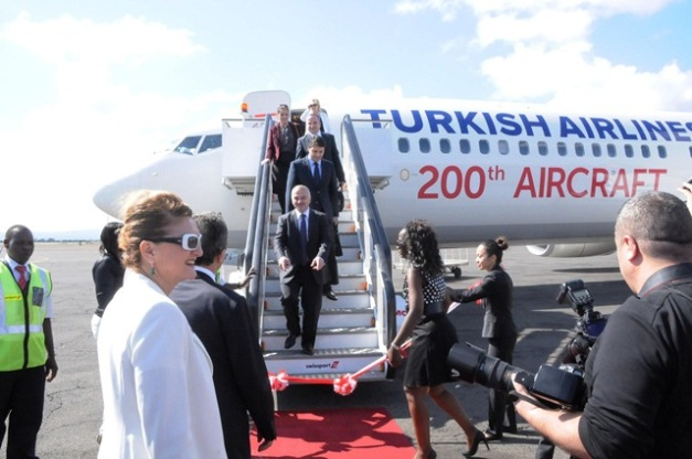 The Turkish Airlines President and CEO Dr.Temel Kotl disembarks from the Turkish Airlines B737-900 plane at Kilimanjaro International Airport that will embark on the Istanbul Ataturk – Kilimanjaro – Mombasa route. The airline will vie the route five times a week. Photo by Staff Photographer.